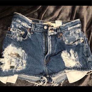 Levi's 505 distressed jean shorts